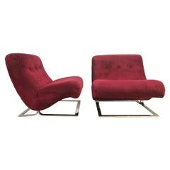Pair of Chrome Lounge Chairs Style of Milo Baughman