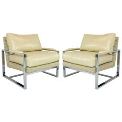 Pair of Chrome Milo Baughman Style Chairs