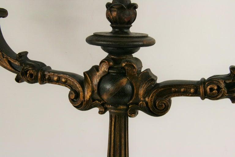 Pair of Italian gilt wood candelabras. Priced per pair