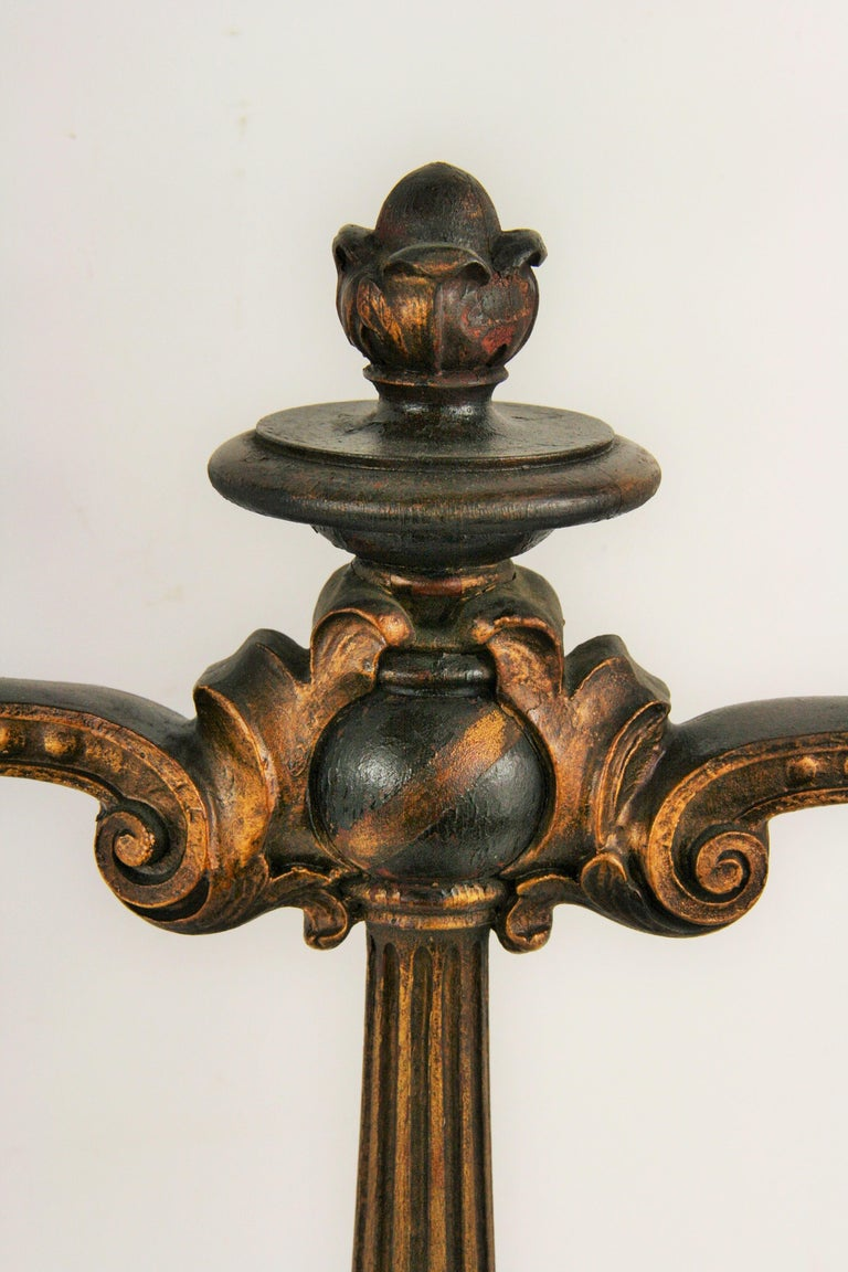 Hardwood Pair of  Italian Wood and Gesso Decorative Candelabras Late 19th century For Sale
