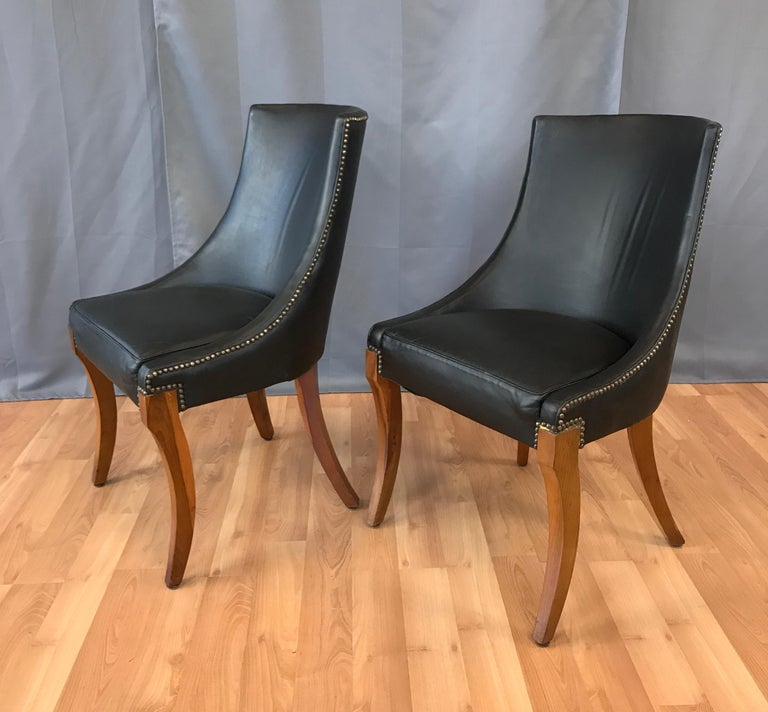 Amazing Pair Of Circa 1940S Black Leather Slipper Chairs Theyellowbook Wood Chair Design Ideas Theyellowbookinfo