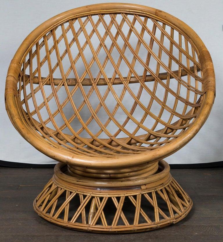 Hong Kong Pair of Circular Rattan Saucer Chairs For Sale