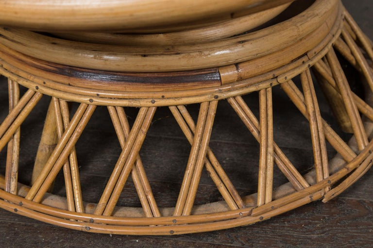 Woven Pair of Circular Rattan Saucer Chairs For Sale