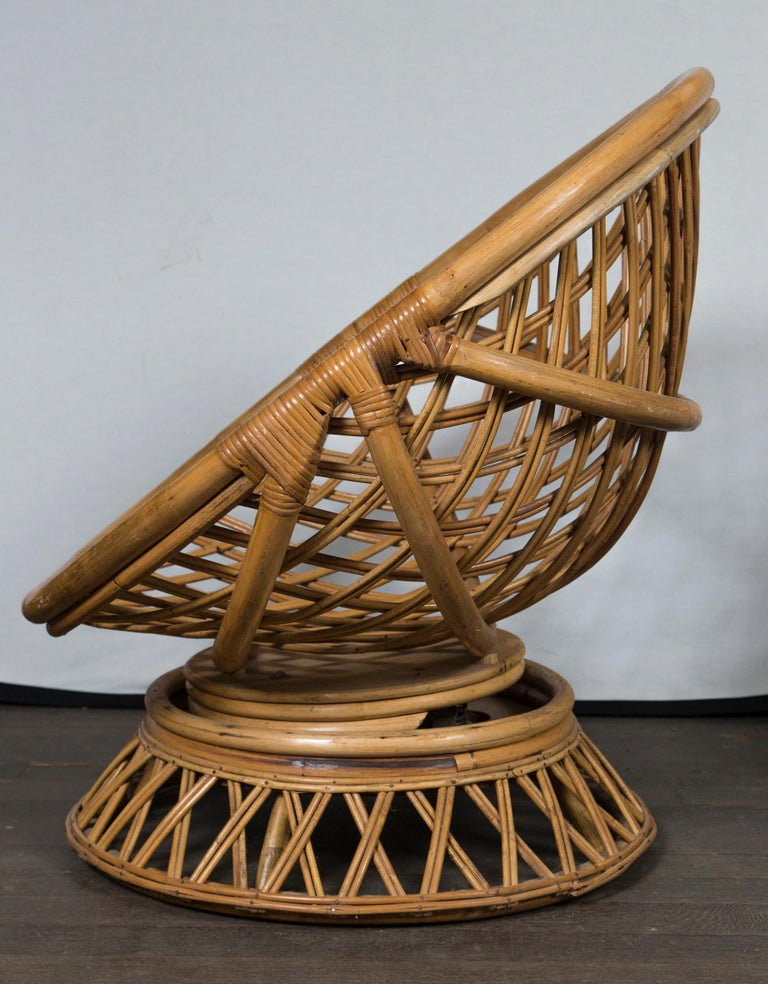 Mid-20th Century Pair of Circular Rattan Saucer Chairs For Sale