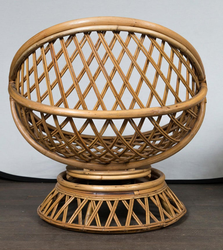 Pair of Circular Rattan Saucer Chairs For Sale 1
