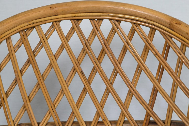Pair of Circular Rattan Saucer Chairs For Sale 2
