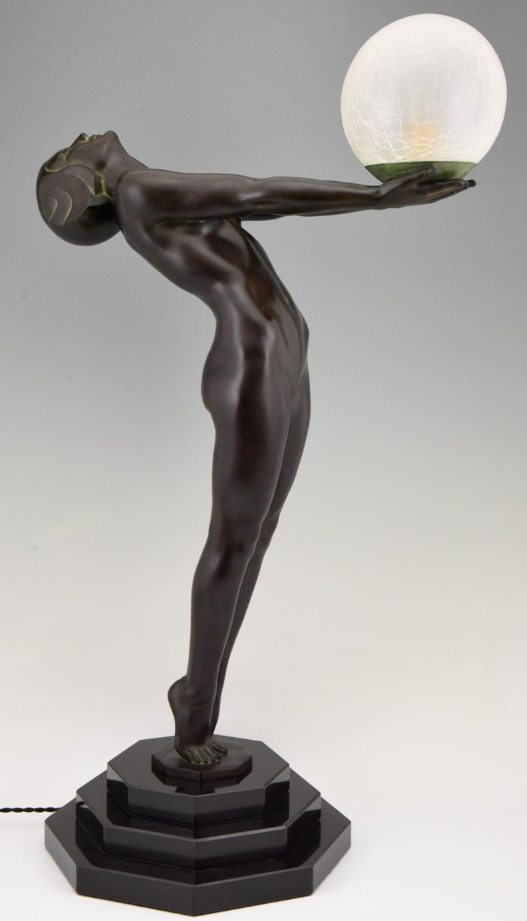 French Pair of Clarté Art Deco Style Lamps Max Le Verrier Nude with Globe 84 cm 33 inch For Sale