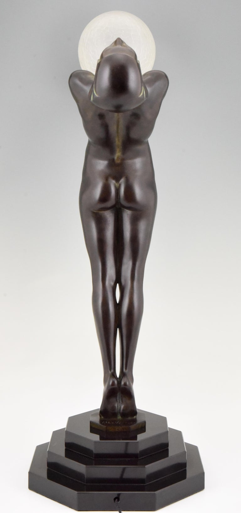Pair of Clarté Art Deco Style Lamps Max Le Verrier Nude with Globe 84 cm 33 inch In New Condition For Sale In Antwerp, BE
