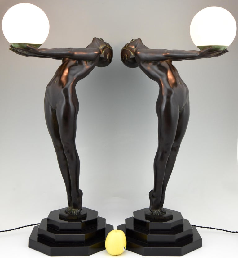 Marble Pair of Clarté Art Deco Style Lamps Max Le Verrier Nude with Globe 84 cm 33 inch For Sale