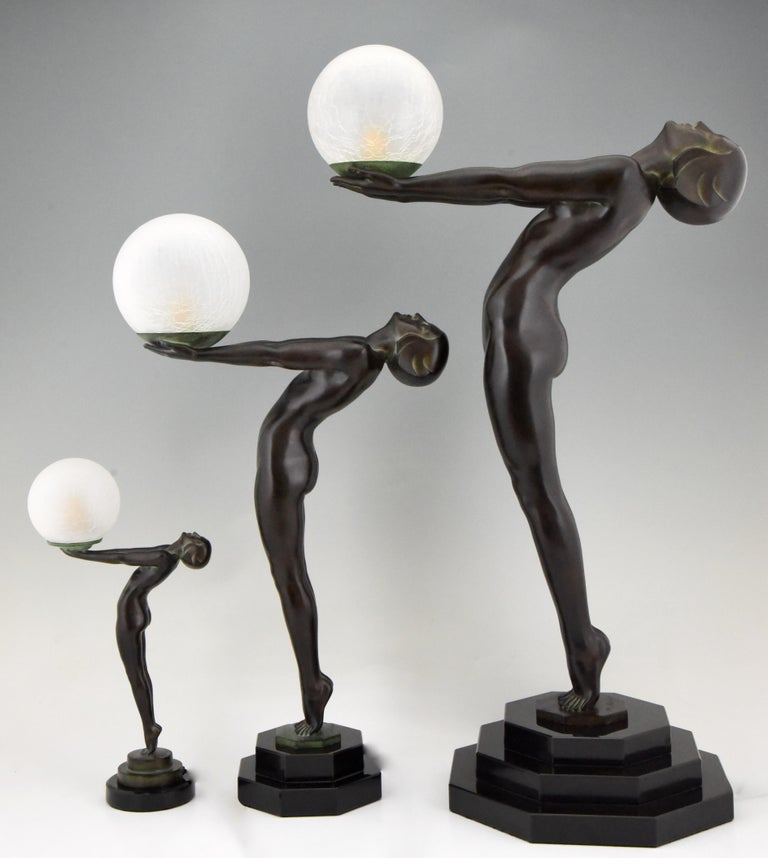 Pair of Clarté Art Deco Style Lamps Max Le Verrier Nude with Globe 84 cm 33 inch For Sale 2