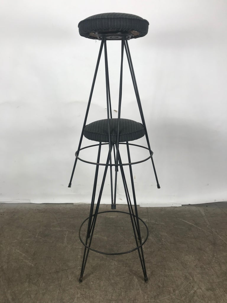 American Pair of Classic Mid-Century Modern Iron Bar/Counter Stools by Frederick Weinberg