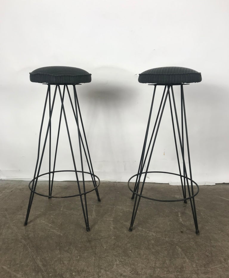 20th Century Pair of Classic Mid-Century Modern Iron Bar/Counter Stools by Frederick Weinberg