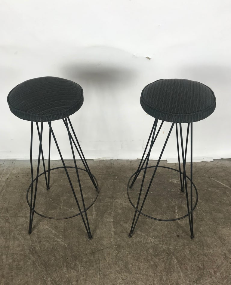 Fabric Pair of Classic Mid-Century Modern Iron Bar/Counter Stools by Frederick Weinberg