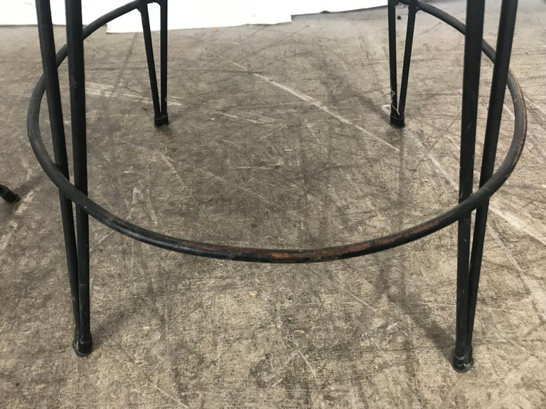 Pair of Classic Mid-Century Modern Iron Bar/Counter Stools by Frederick Weinberg 1