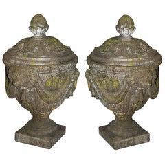 Pair Classical 19th Century Lidded Garden Urns