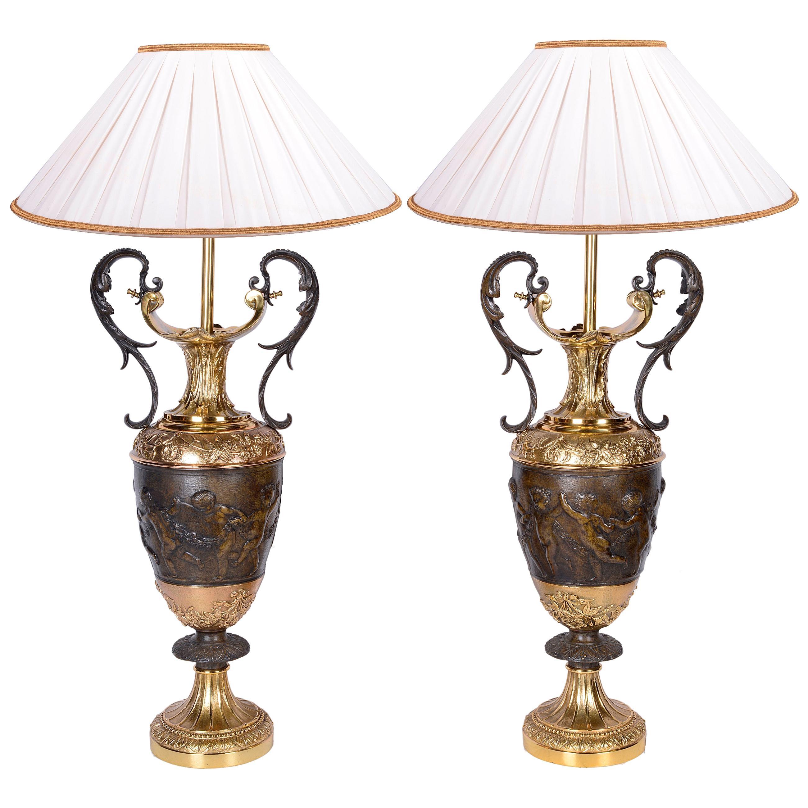 Pair of Classical Bronze Vases / Lamps