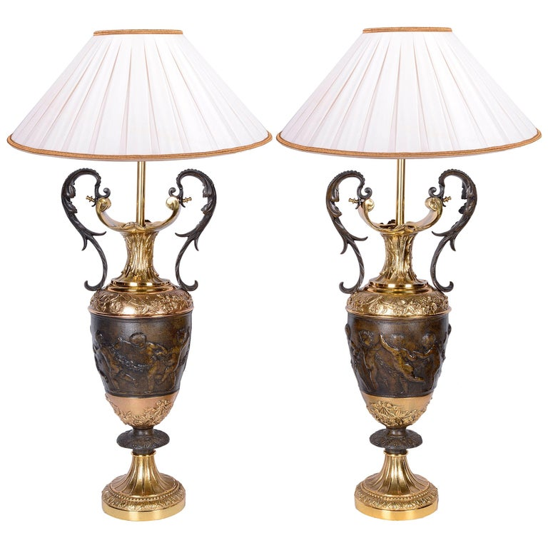 Pair of Classical Bronze Vases / Lamps For Sale