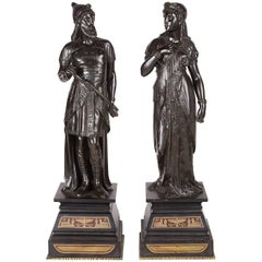 Pair of Classical Egyptian Revival Bronze Statues, 19th Century