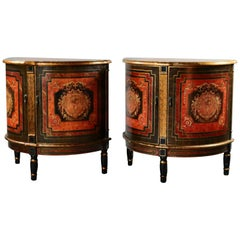 Pair of Classical French Paint Decorated Demilune Bombe Side Stands