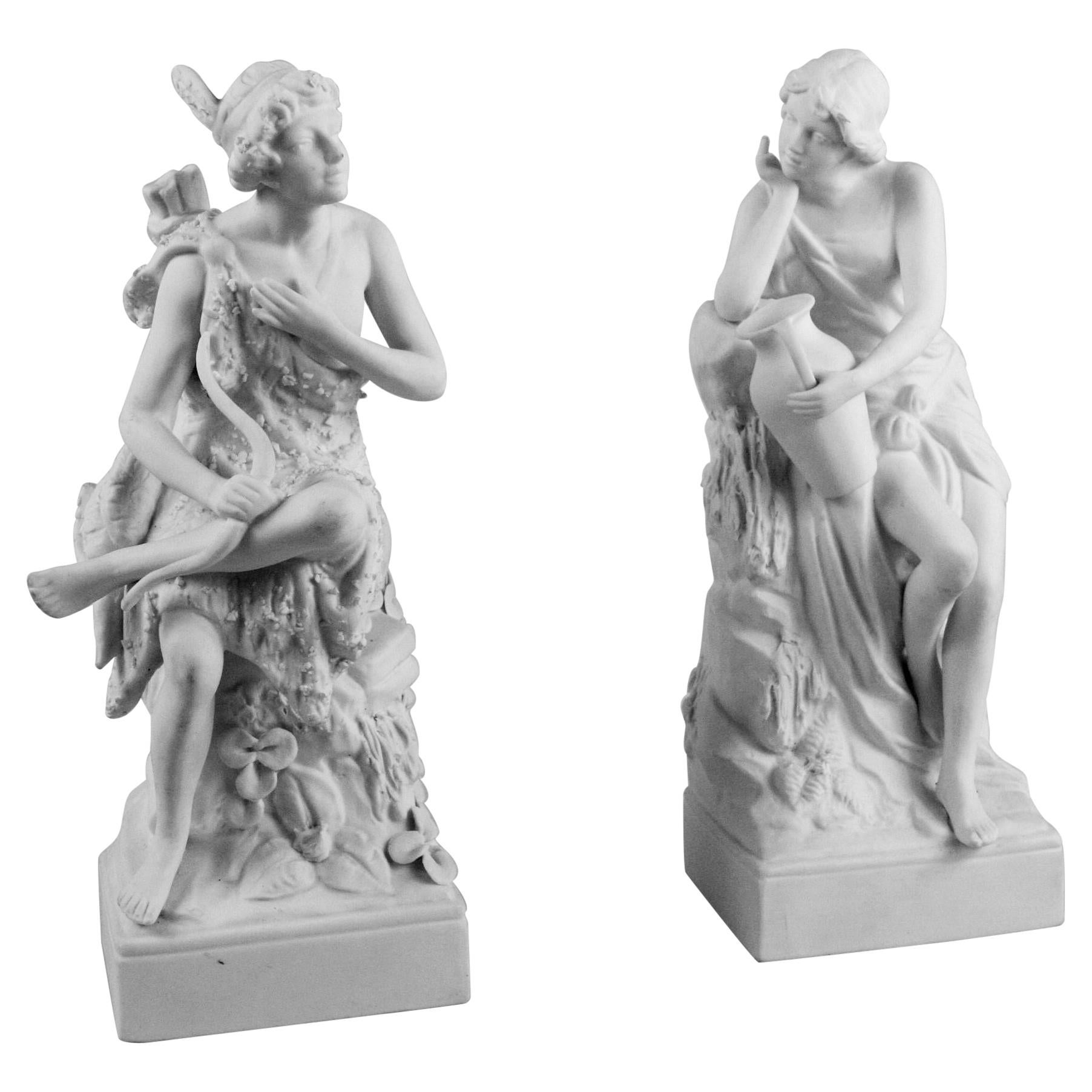 Pair Classical Mythological Figural Bisque Bookends/Sculptures