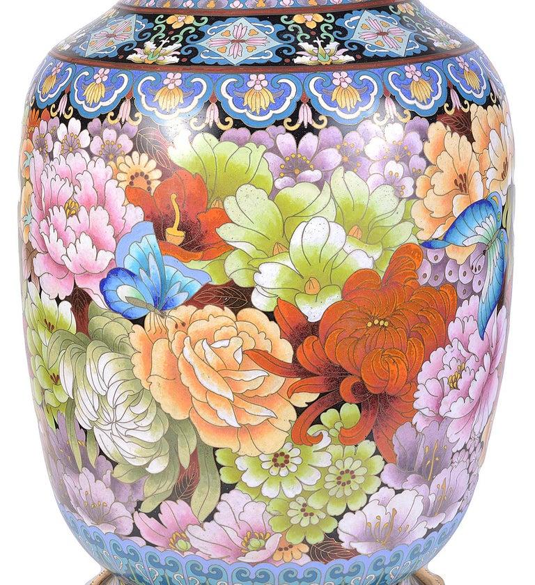 Pair of Cloisonne Enamel Vases/Lamps, circa 1920 For Sale 5