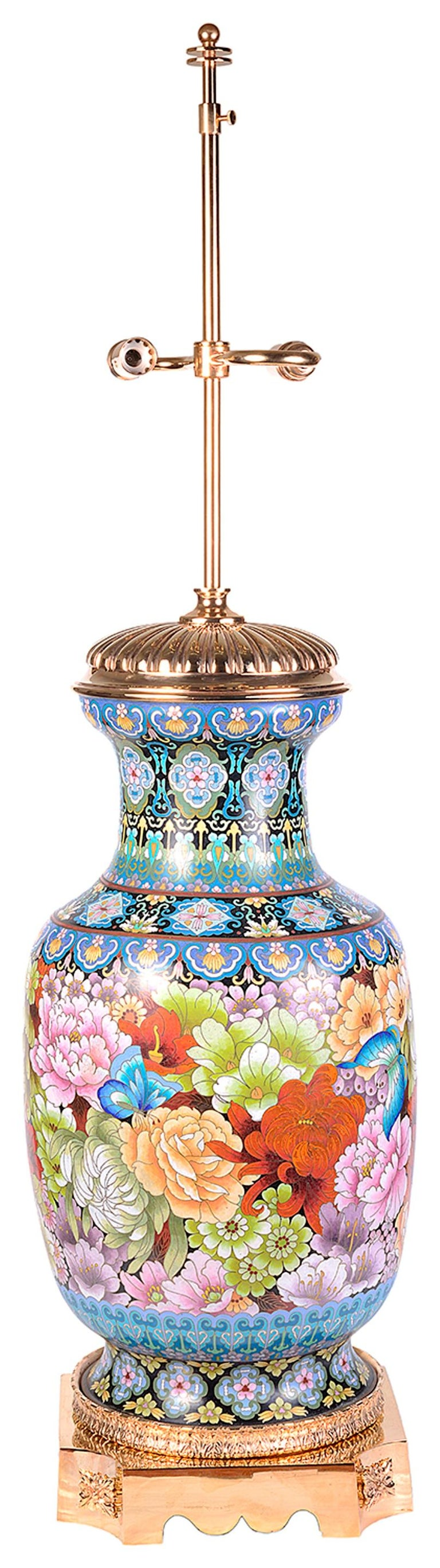 Chinese Pair of Cloisonne Enamel Vases/Lamps, circa 1920 For Sale