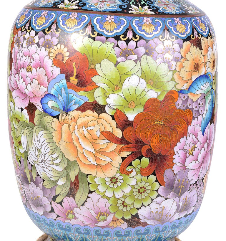 20th Century Pair of Cloisonne Enamel Vases/Lamps, circa 1920 For Sale