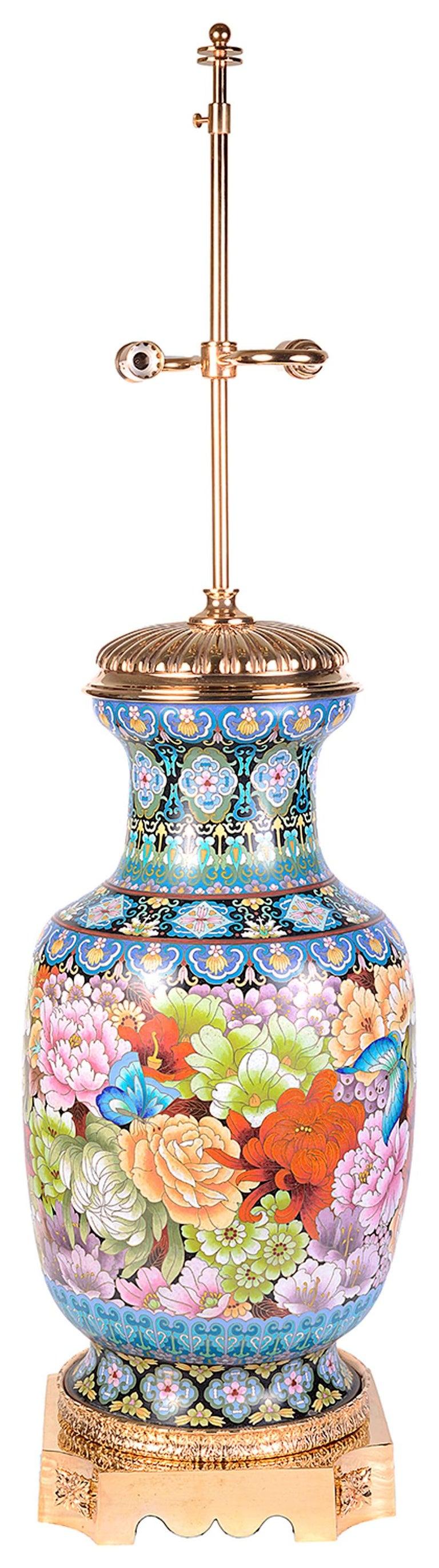 Pair of Cloisonne Enamel Vases/Lamps, circa 1920 For Sale 1