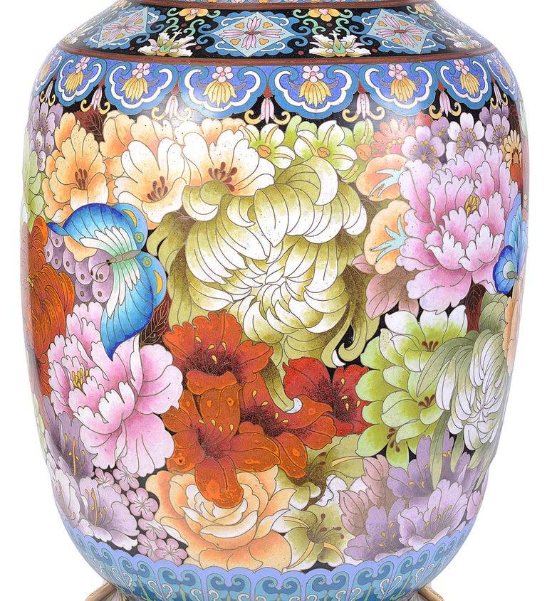 Pair of Cloisonne Enamel Vases/Lamps, circa 1920 For Sale 2