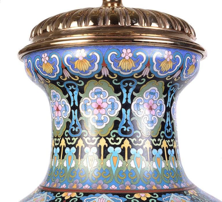 Pair of Cloisonne Enamel Vases/Lamps, circa 1920 For Sale 3