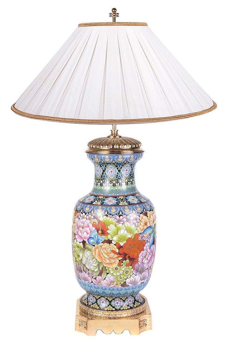 Pair of Cloisonne Enamel Vases/Lamps, circa 1920 For Sale 4