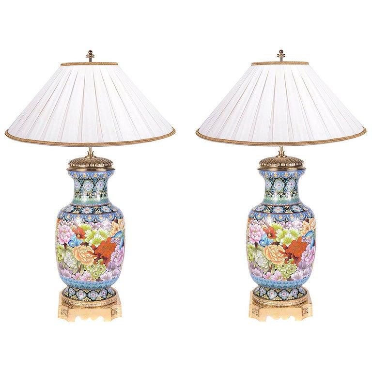 Pair of Cloisonne Enamel Vases/Lamps, circa 1920 For Sale