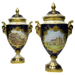 Pair of Coalport Urns Vases Hand Painted Signed Derek Pass Malcolm Harnett