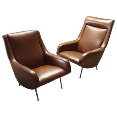 Pair of Cognac Italian Lounge Chairs by Carlo de Carli for Cassina, 1950s
