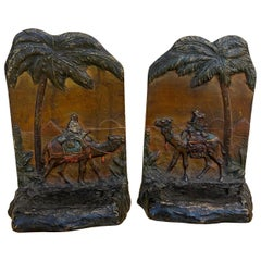 Pair Cold Painted Austrian Polychrome Bookends of Arabian Merchants and Pyramids