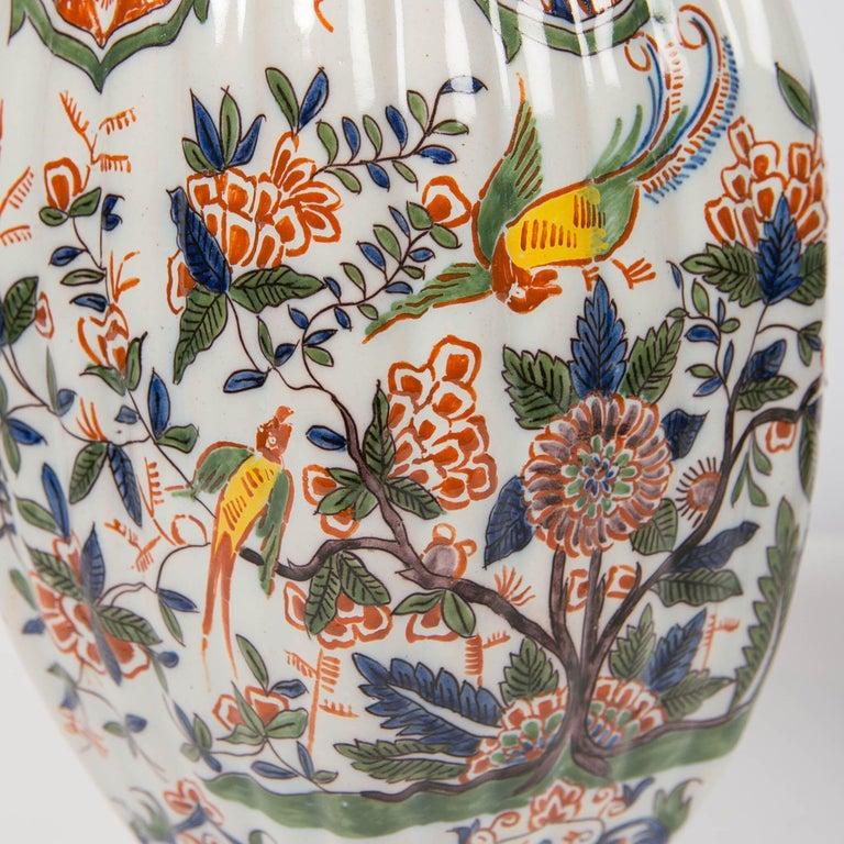 Rococo Pair of Colorful 19th Century Dutch Delft Jars Made, circa 1880 For Sale