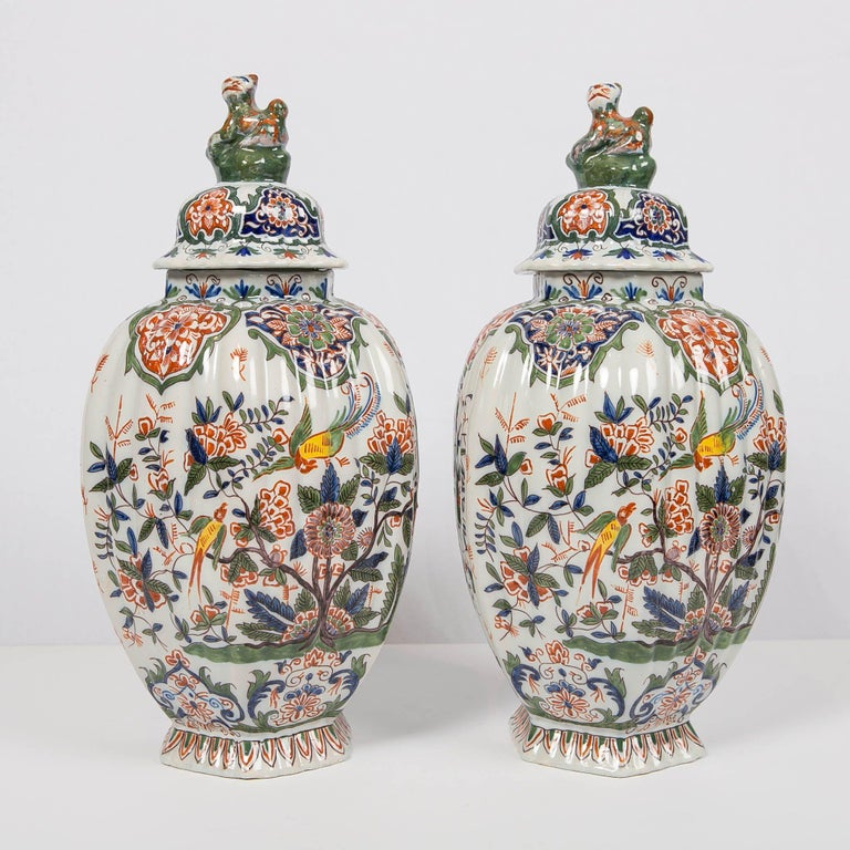 Glazed Pair of Colorful 19th Century Dutch Delft Jars Made, circa 1880 For Sale