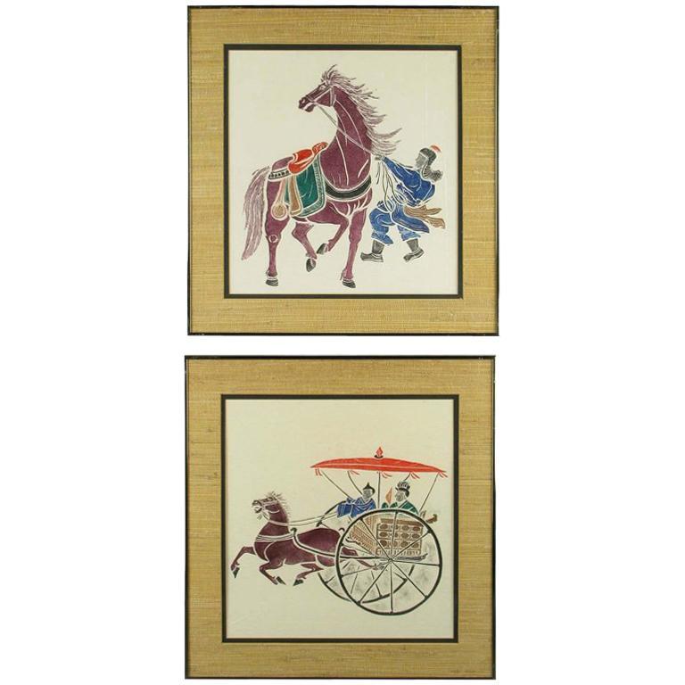 Pair Colorful Chinese Woodblock Prints