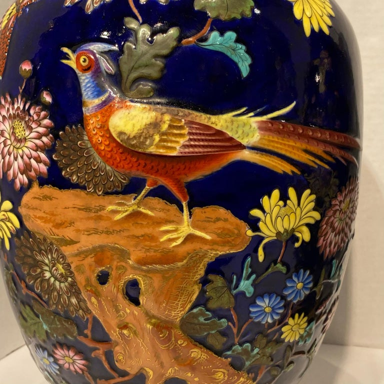 Pair Colorful Enameled Porcelain Table Lamps with Bird and Flowers Motifs For Sale 11