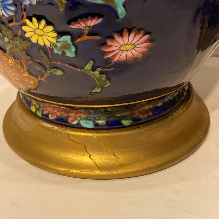 Pair Colorful Enameled Porcelain Table Lamps with Bird and Flowers Motifs For Sale 13