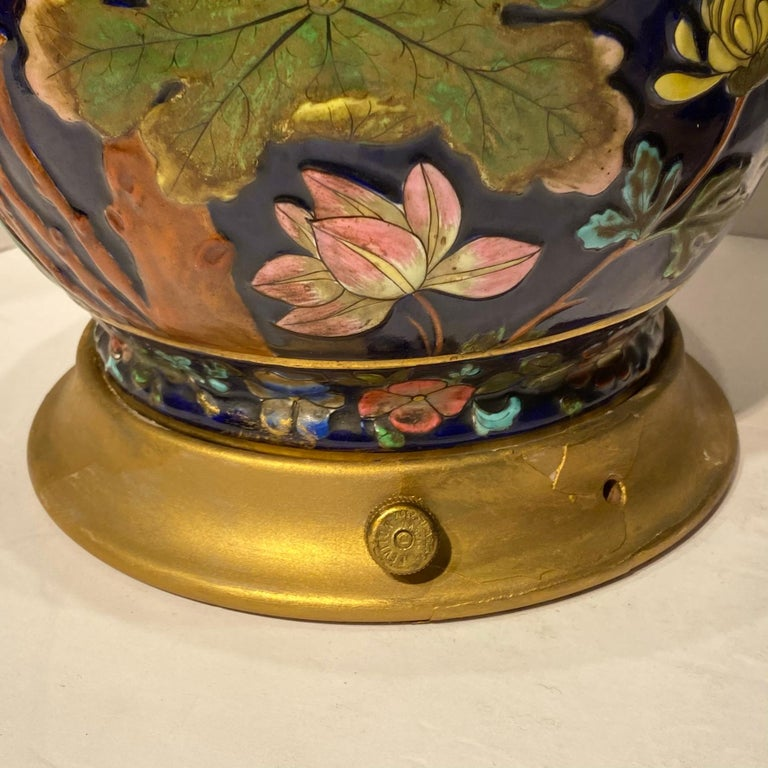 Pair Colorful Enameled Porcelain Table Lamps with Bird and Flowers Motifs For Sale 14