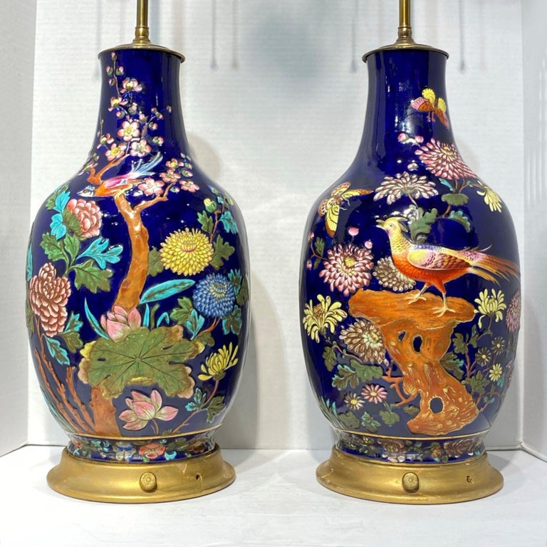 French Pair Colorful Enameled Porcelain Table Lamps with Bird and Flowers Motifs For Sale