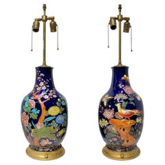 Pair Colorful Enameled Porcelain Table Lamps with Bird and Flowers Motifs
