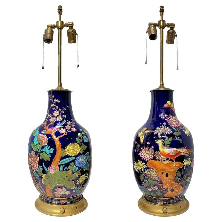 Pair Colorful Enameled Porcelain Table Lamps with Bird and Flowers Motifs For Sale