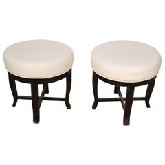 Pair Contemporary White Leather and Ebonized Round Stools