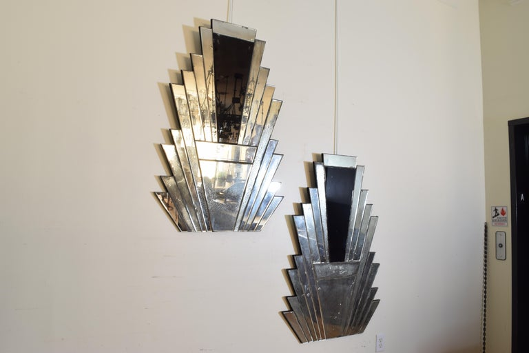 European Pair of Continental Art Deco Wall Mirrors, Second Quarter of the 20th Century