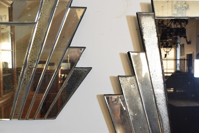 Mid-20th Century Pair of Continental Art Deco Wall Mirrors, Second Quarter of the 20th Century