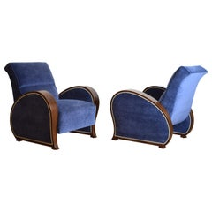 Pair of Continental Late Art Deco Period Velvet Upholstered Club Chairs