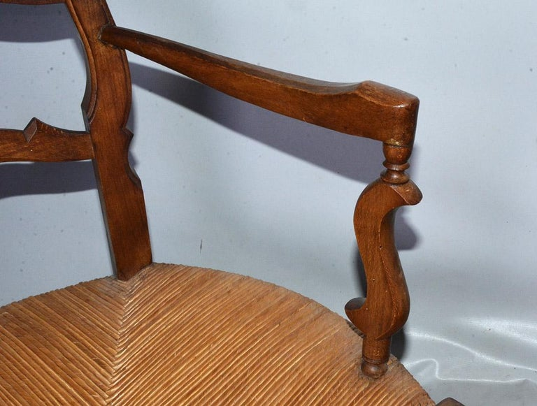 Pair of Country Louis XV Style Ladder Back Armchairs For Sale 2