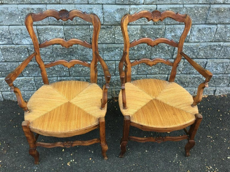 French Provincial Pair of Country Louis XV Style Ladder Back Armchairs For Sale